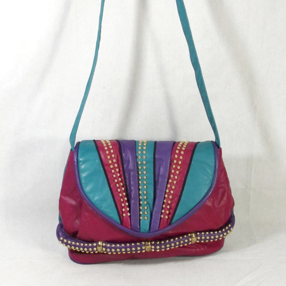 a404b6bc8c VINTAGE 80s Colorful Leather Shoulder Bag Purse. M 5b6dbf5ec6177739183c4901